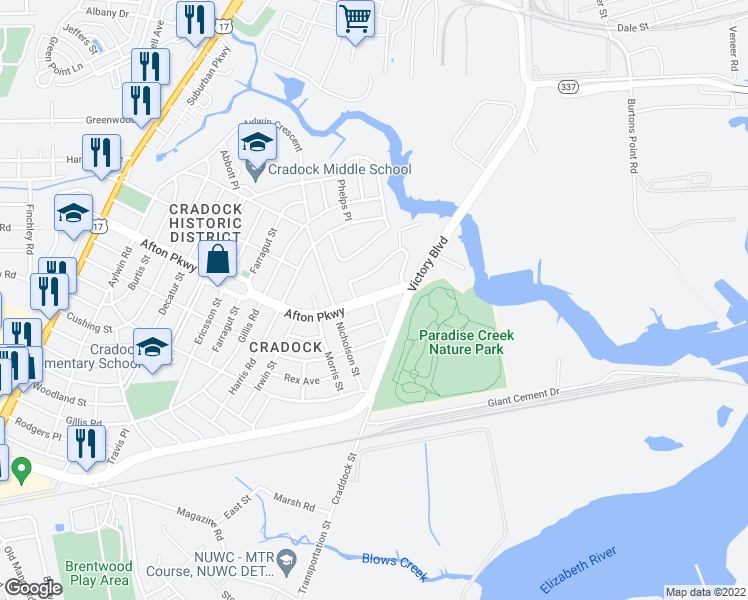 map of restaurants, bars, coffee shops, grocery stores, and more near 6 Kennedy Drive in Portsmouth