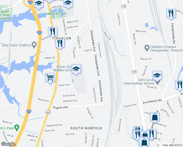 map of restaurants, bars, coffee shops, grocery stores, and more near Haywood Avenue in Chesapeake