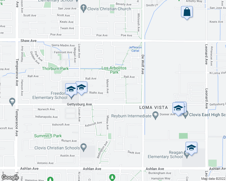 map of restaurants, bars, coffee shops, grocery stores, and more near 2642 Blackwood Avenue in Clovis