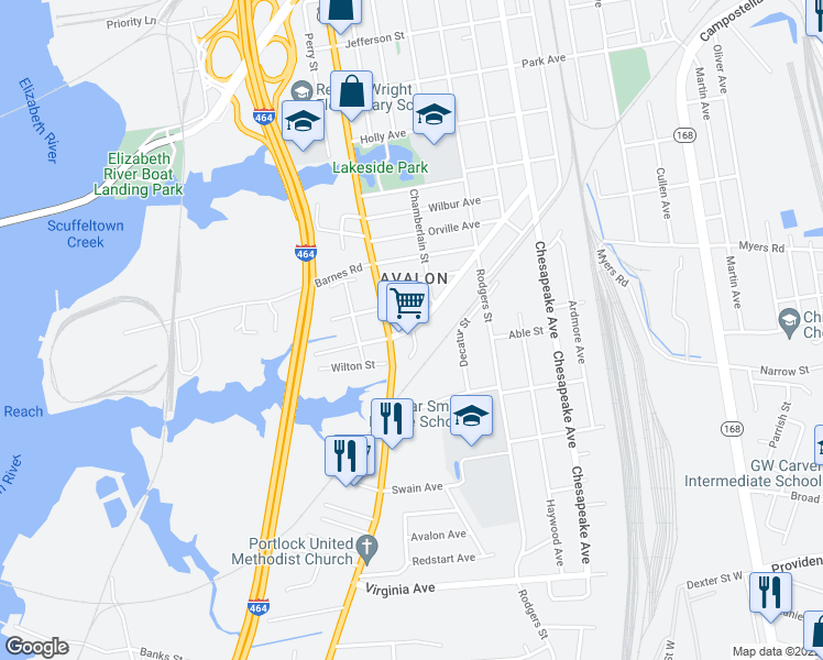 map of restaurants, bars, coffee shops, grocery stores, and more near 2129 Chesapeake Drive in Chesapeake