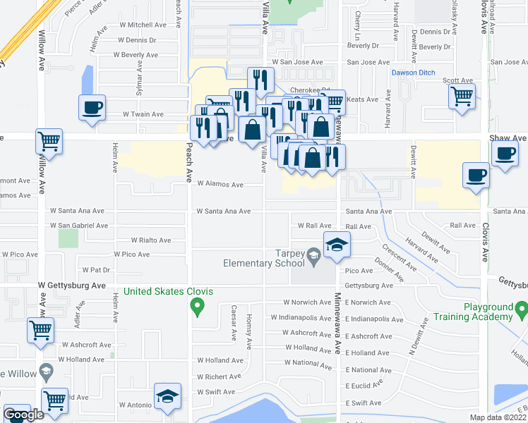 map of restaurants, bars, coffee shops, grocery stores, and more near Villa Avenue & West Santa Ana Avenue in Clovis