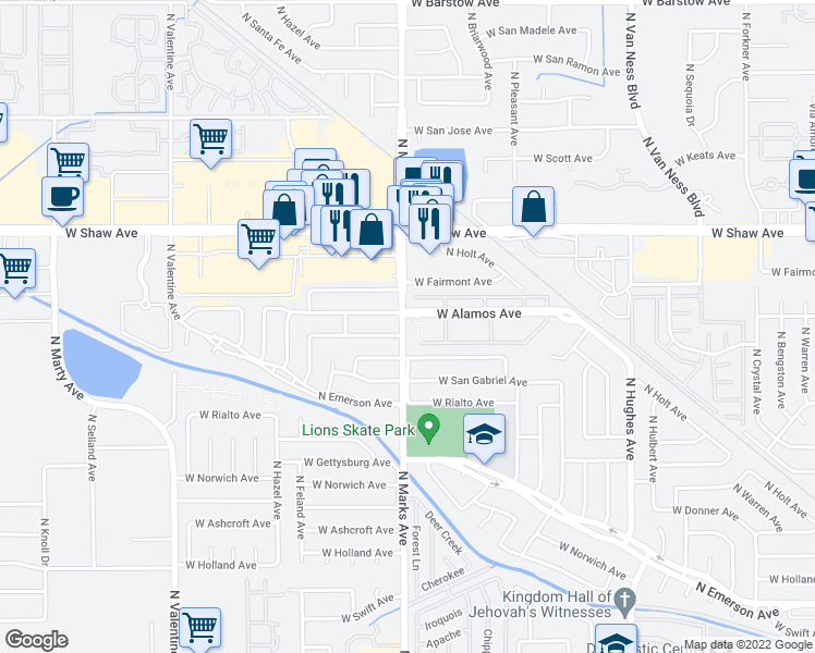 map of restaurants, bars, coffee shops, grocery stores, and more near 3456 North Marks Avenue in Fresno