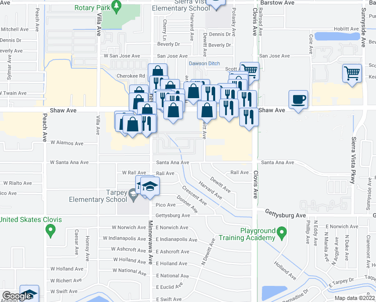 map of restaurants, bars, coffee shops, grocery stores, and more near 240 Alamos Avenue in Clovis