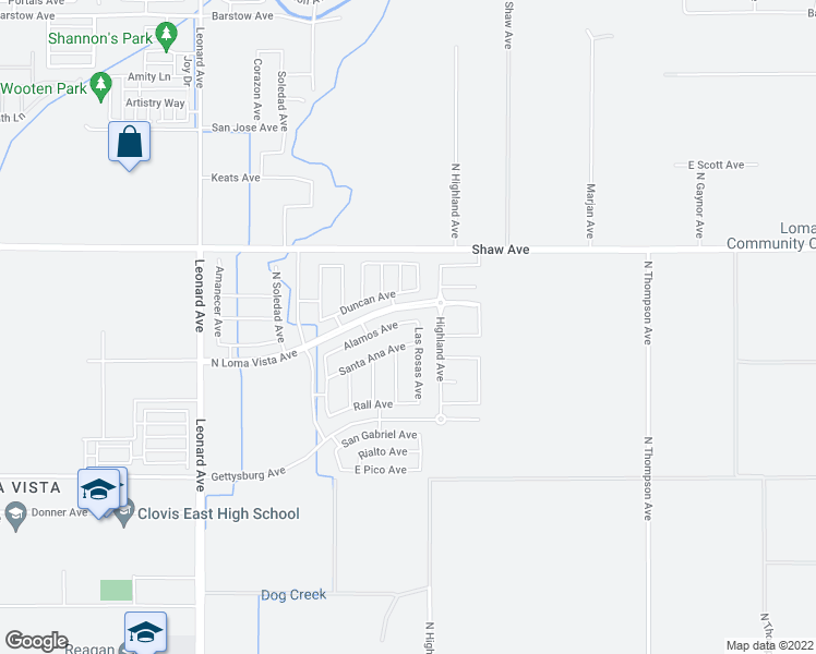 map of restaurants, bars, coffee shops, grocery stores, and more near 4152 Alamos Avenue in Clovis