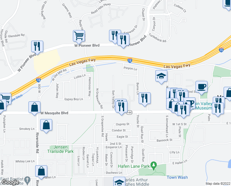 map of restaurants, bars, coffee shops, grocery stores, and more near 261 Sun Valley Drive in Mesquite