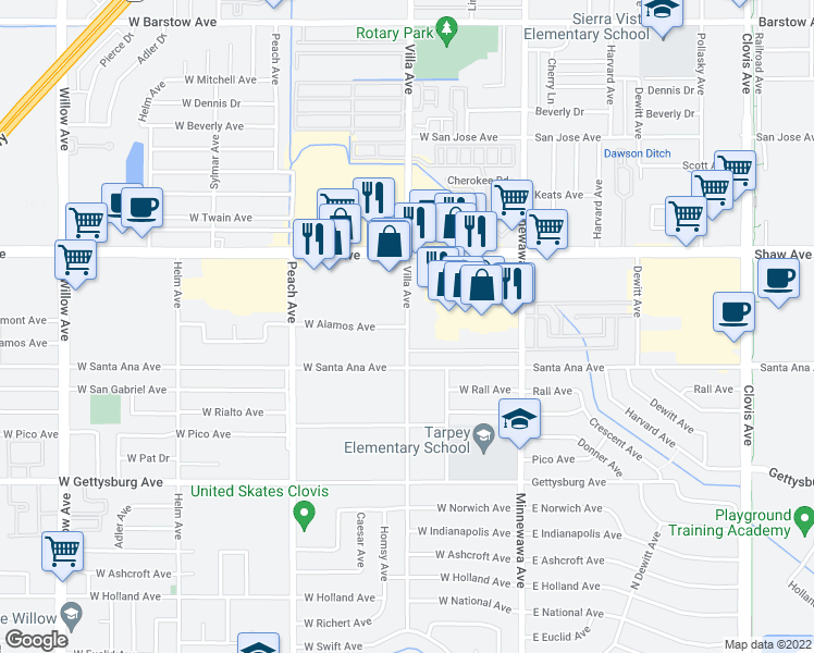 map of restaurants, bars, coffee shops, grocery stores, and more near Villa Avenue & West Alamos Avenue in Clovis