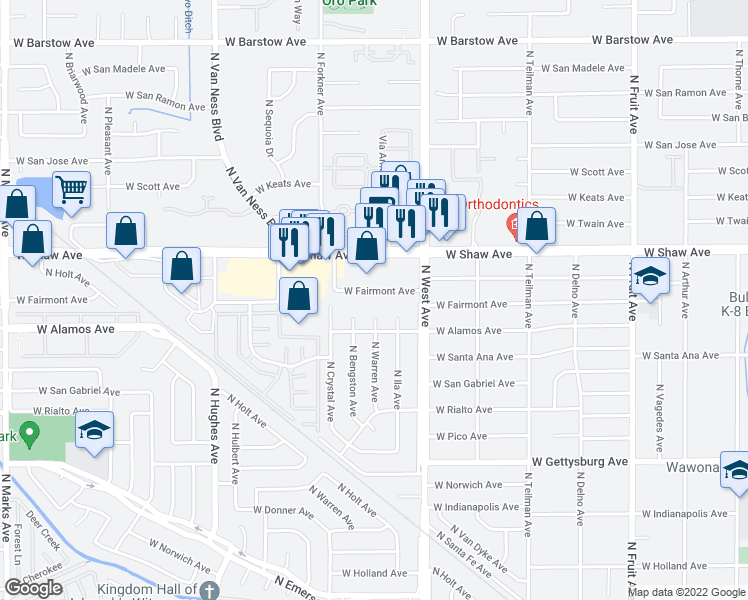 map of restaurants, bars, coffee shops, grocery stores, and more near 1493 West Fairmont Avenue in Fresno