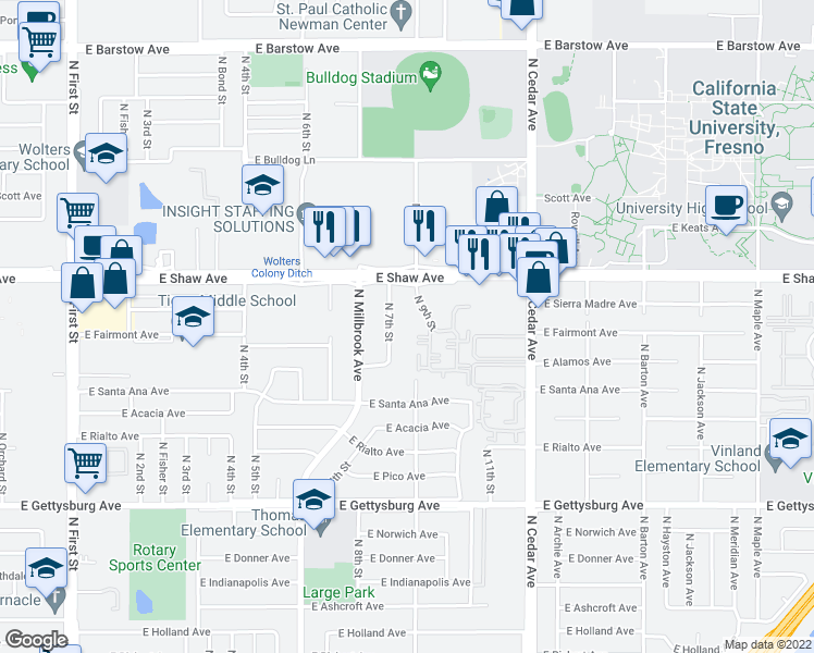 map of restaurants, bars, coffee shops, grocery stores, and more near 4912 North 7th Street in Fresno