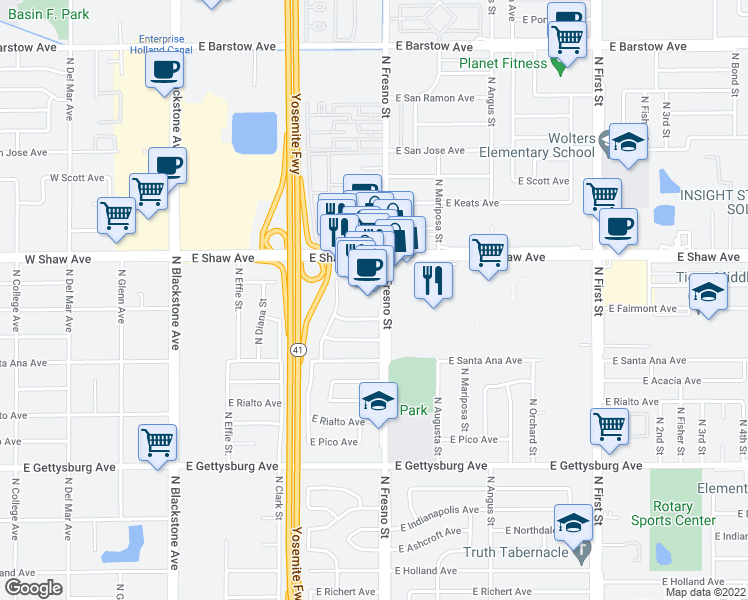 map of restaurants, bars, coffee shops, grocery stores, and more near 389 East Shaw Avenue in Fresno