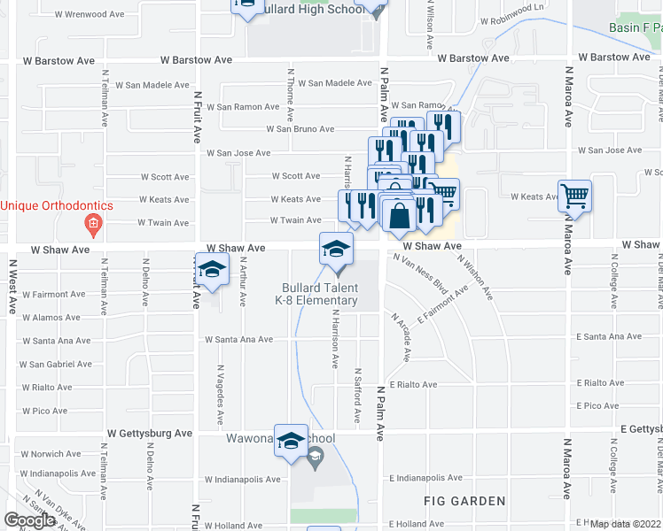 map of restaurants, bars, coffee shops, grocery stores, and more near 4959 North Harrison Avenue in Fresno