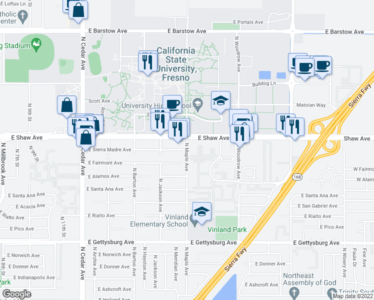 map of restaurants, bars, coffee shops, grocery stores, and more near North Maple Avenue & East Sierra Madre Avenue in Fresno