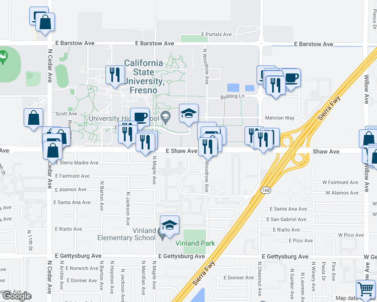 map of restaurants, bars, coffee shops, grocery stores, and more near Shaw Avenue & North Backer Avenue in Fresno