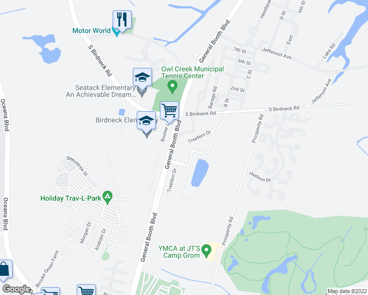 map of restaurants, bars, coffee shops, grocery stores, and more near 1169 Treefern Drive in Virginia Beach