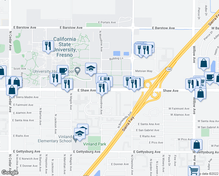 map of restaurants, bars, coffee shops, grocery stores, and more near 2667-2699 East Shaw Avenue in Fresno