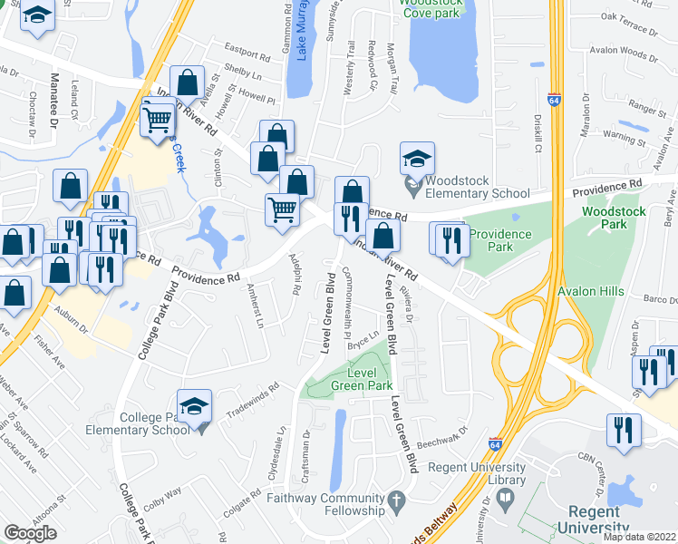 map of restaurants, bars, coffee shops, grocery stores, and more near 952 Level Green Boulevard in Virginia Beach