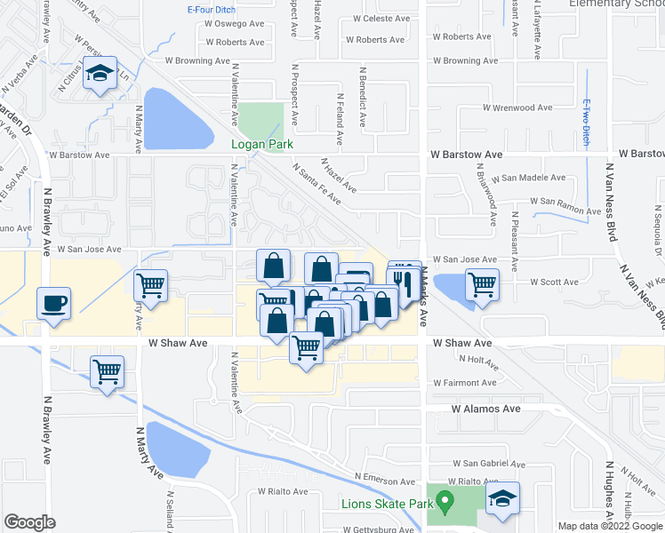map of restaurants, bars, coffee shops, grocery stores, and more near 5175 North Feland Avenue in Fresno
