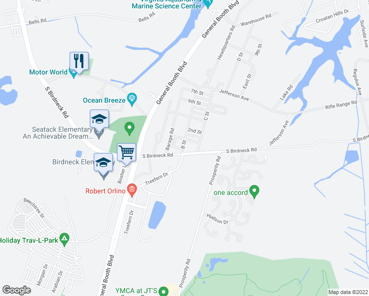 map of restaurants, bars, coffee shops, grocery stores, and more near 1200 South Birdneck Road in Virginia Beach