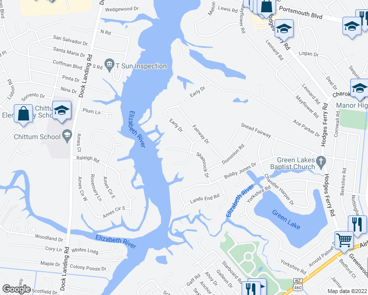 map of restaurants, bars, coffee shops, grocery stores, and more near 8 Shamrock Drive in Portsmouth