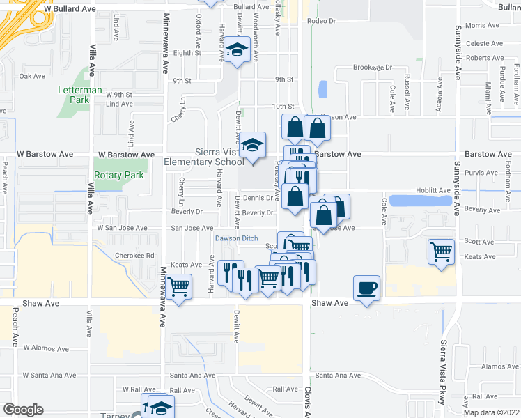 map of restaurants, bars, coffee shops, grocery stores, and more near 519 Beverly Drive in Clovis