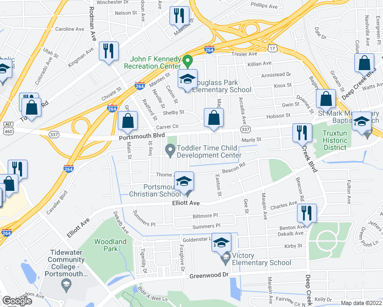 map of restaurants, bars, coffee shops, grocery stores, and more near 129 Hansen Avenue in Portsmouth