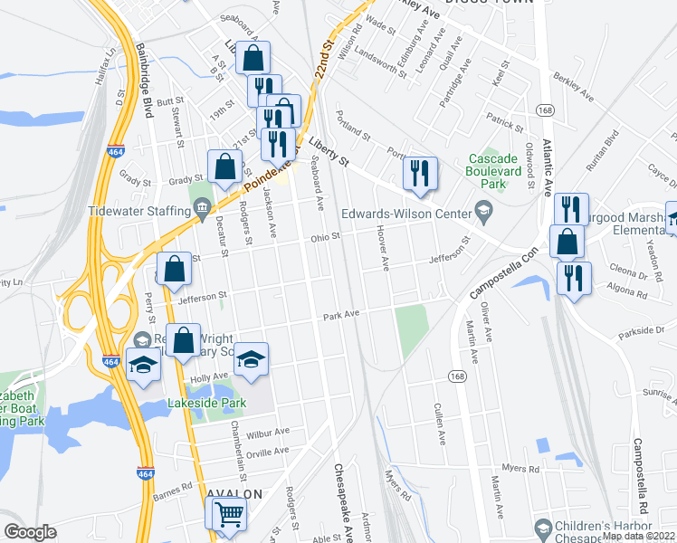 map of restaurants, bars, coffee shops, grocery stores, and more near 1237 Seaboard Avenue in Chesapeake