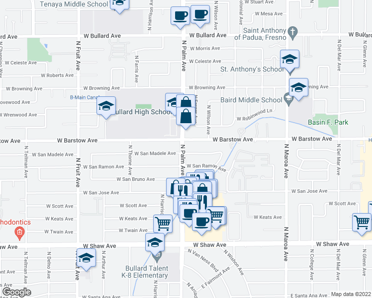 map of restaurants, bars, coffee shops, grocery stores, and more near 786 West San Madele Avenue in Fresno