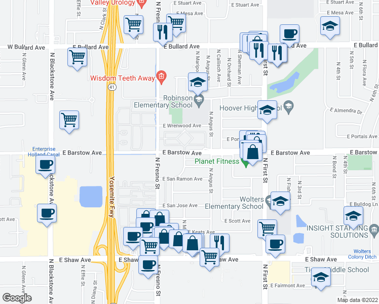 map of restaurants, bars, coffee shops, grocery stores, and more near 526 East Barstow Avenue in Fresno