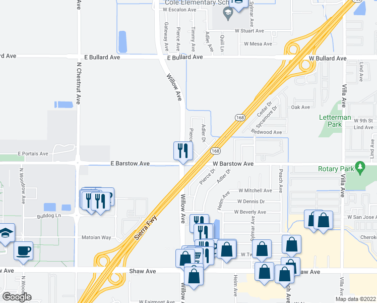 map of restaurants, bars, coffee shops, grocery stores, and more near 1108 Pierce Drive in Clovis