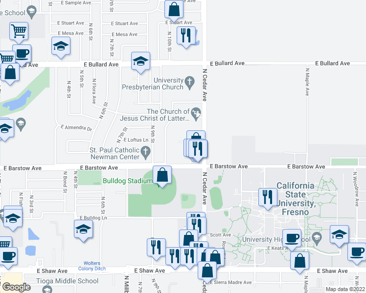 map of restaurants, bars, coffee shops, grocery stores, and more near 5469 North Cedar Avenue in Fresno