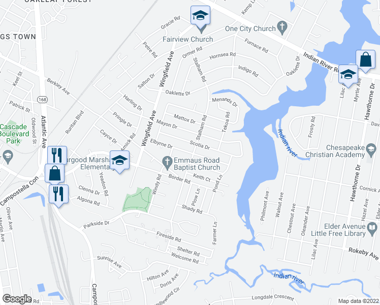 map of restaurants, bars, coffee shops, grocery stores, and more near Elbyrne Drive in Chesapeake