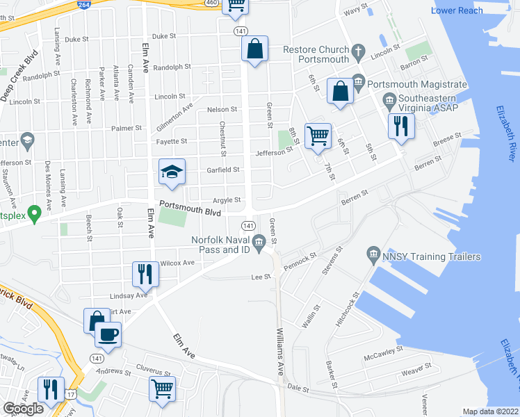 map of restaurants, bars, coffee shops, grocery stores, and more near 714 Portsmouth Boulevard in Portsmouth