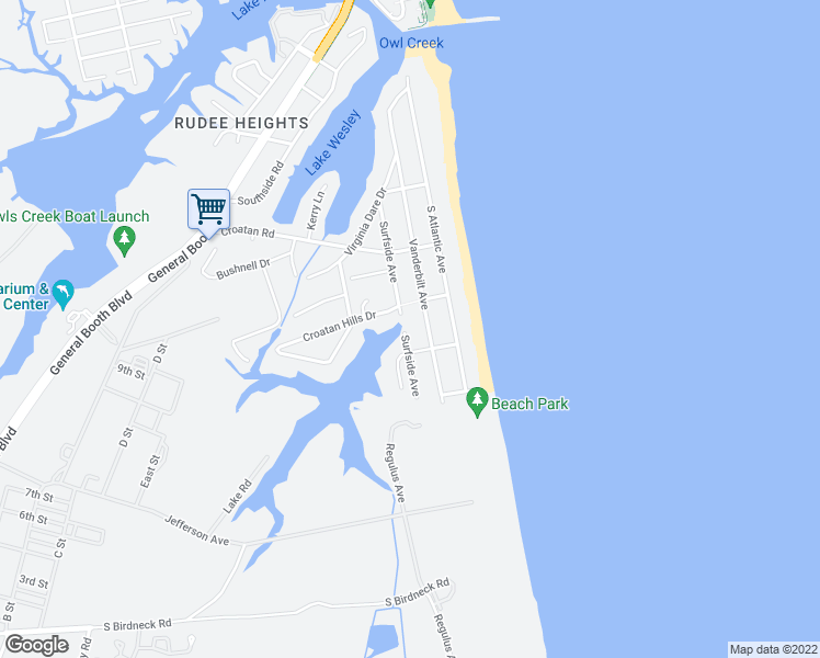 map of restaurants, bars, coffee shops, grocery stores, and more near 720 Surfside Avenue in Virginia Beach