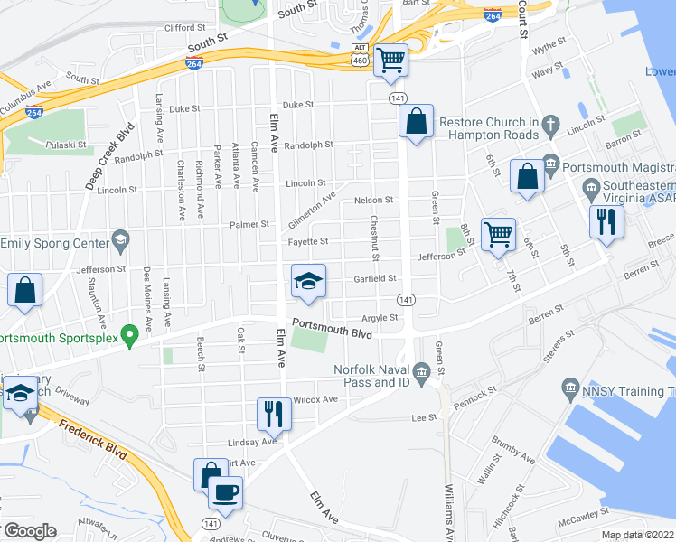 map of restaurants, bars, coffee shops, grocery stores, and more near 2310 Peach Street in Portsmouth