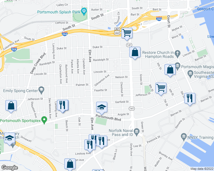 map of restaurants, bars, coffee shops, grocery stores, and more near 1017 Palmer Street in Portsmouth