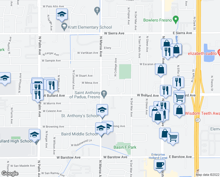 map of restaurants, bars, coffee shops, grocery stores, and more near 336 West Bullard Avenue in Fresno