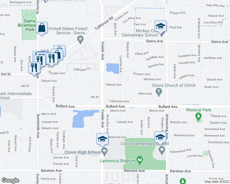 map of restaurants, bars, coffee shops, grocery stores, and more near 423-433 Whittier Avenue in Clovis