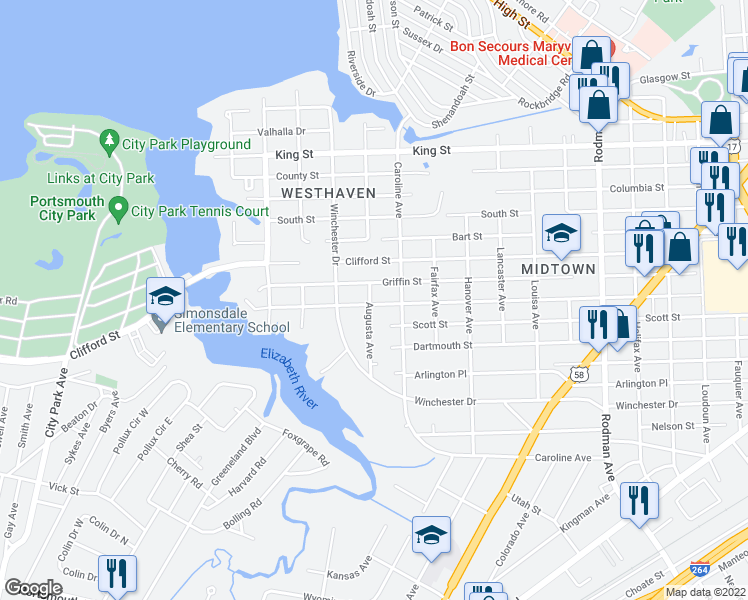 map of restaurants, bars, coffee shops, grocery stores, and more near 4320 Race Street in Portsmouth