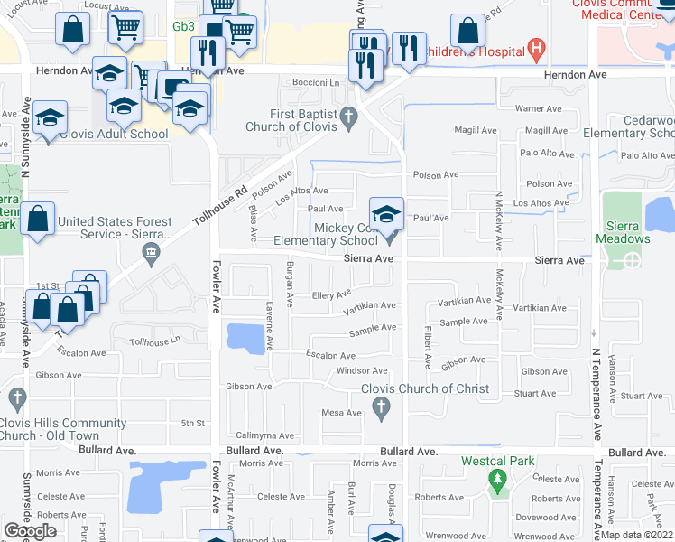 map of restaurants, bars, coffee shops, grocery stores, and more near 45 Burl Avenue in Clovis