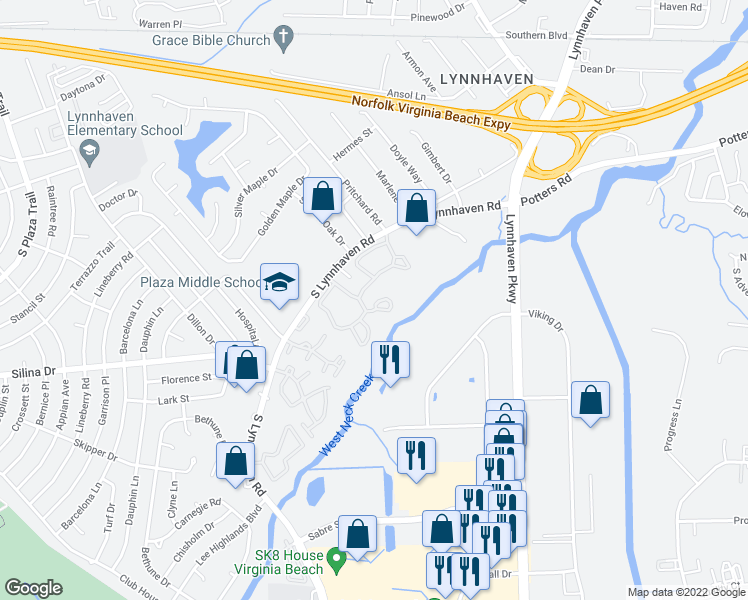 map of restaurants, bars, coffee shops, grocery stores, and more near 345-353 Reflections Drive in Virginia Beach