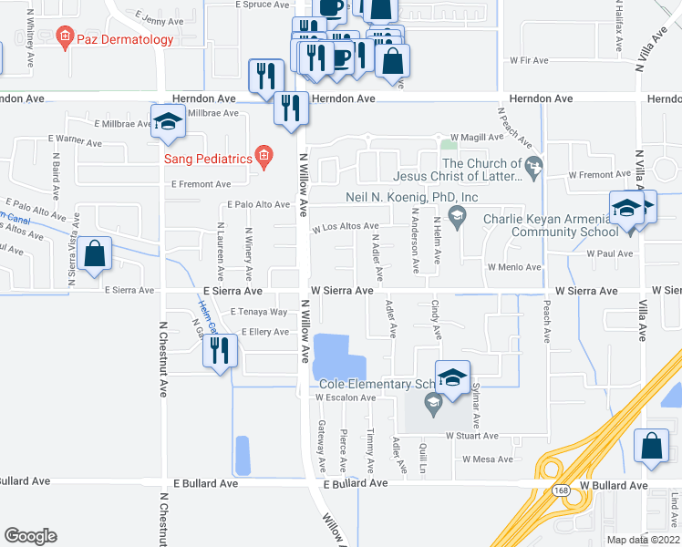map of restaurants, bars, coffee shops, grocery stores, and more near 762 West Menlo Avenue in Clovis