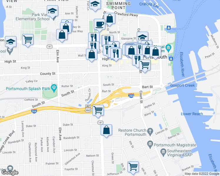 map of restaurants, bars, coffee shops, grocery stores, and more near 642 South Street in Portsmouth
