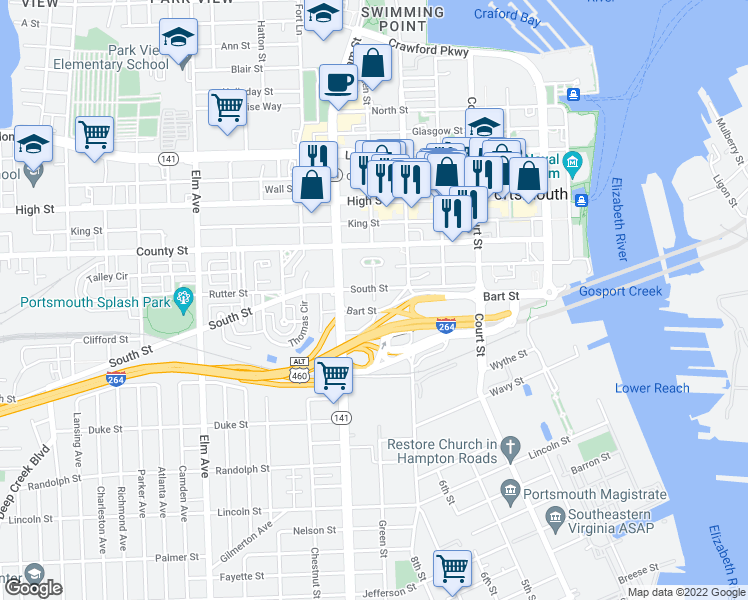 map of restaurants, bars, coffee shops, grocery stores, and more near 642 South Street in Portsmou