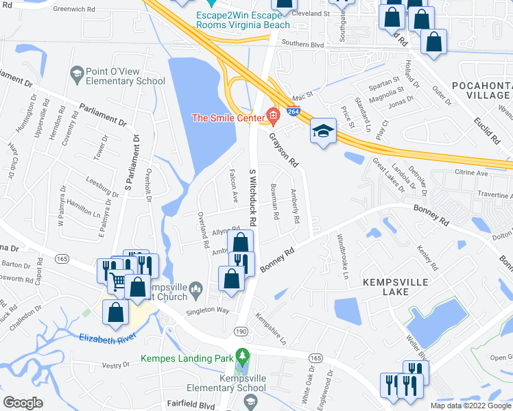 map of restaurants, bars, coffee shops, grocery stores, and more near S Witchduck Rd & Anvers Rd in Virginia Beach
