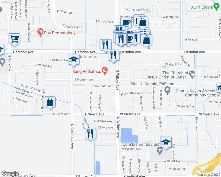 map of restaurants, bars, coffee shops, grocery stores, and more near 6721 North Willow Avenue in Fresno