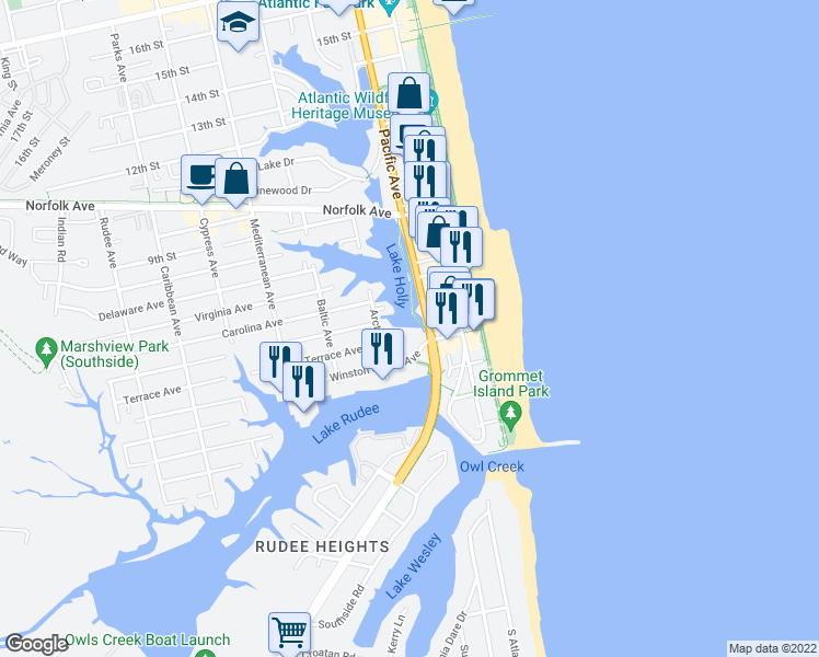 map of restaurants, bars, coffee shops, grocery stores, and more near 500 Pacific Avenue in Virginia Beach