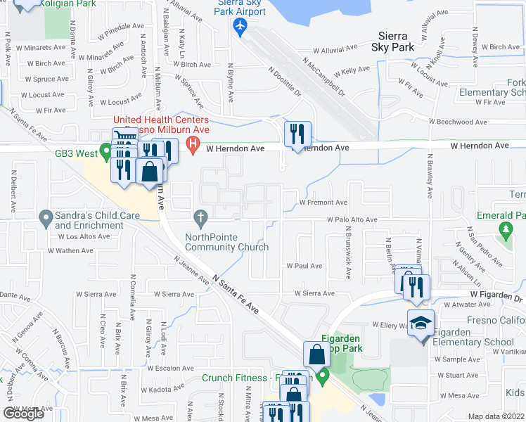 map of restaurants, bars, coffee shops, grocery stores, and more near 4464 West Palo Alto Avenue in Fresno