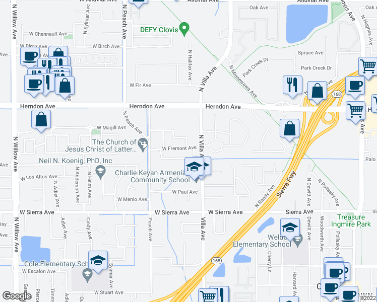 map of restaurants, bars, coffee shops, grocery stores, and more near 248 West Fremont Avenue in Clovis