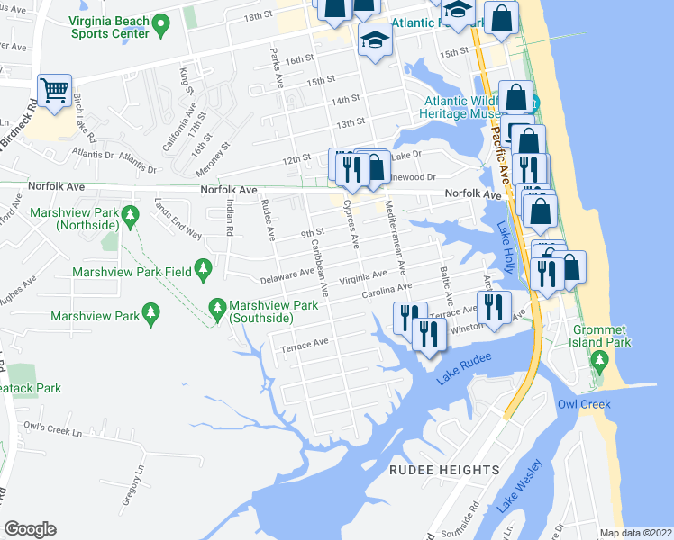 map of restaurants, bars, coffee shops, grocery stores, and more near 720 Delaware Avenue in Virginia Beach