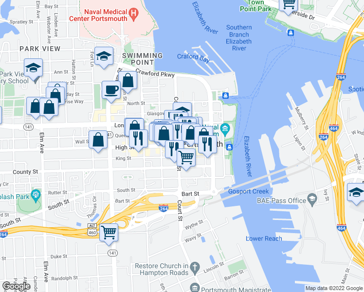 map of restaurants, bars, coffee shops, grocery stores, and more near 339 High St in Portsmouth