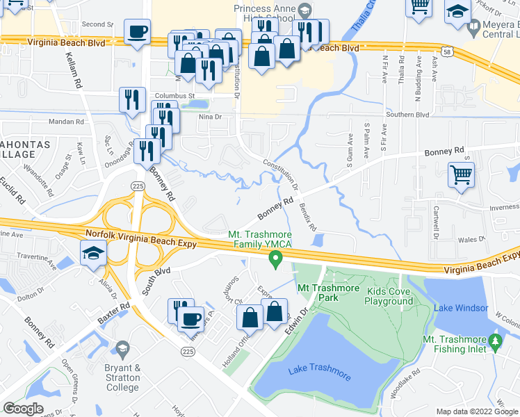 map of restaurants, bars, coffee shops, grocery stores, and more near 4432 Bonney Road in Virginia Beach